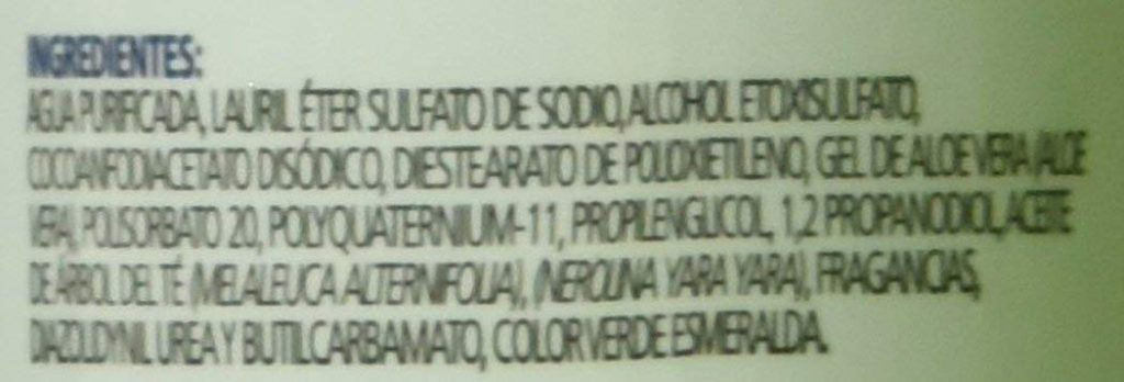 Ingredientes del Shampoo Antipiox