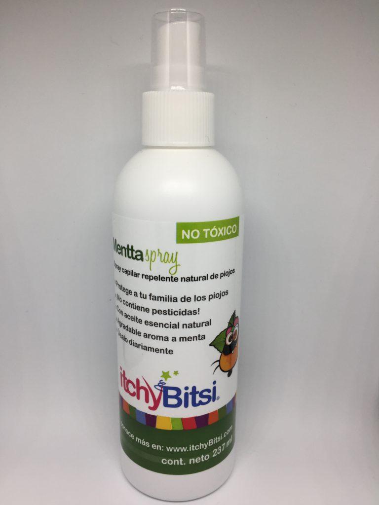 Repelente para Piojos itchyBitsi Mentta Spray. Presentación de 237 ml