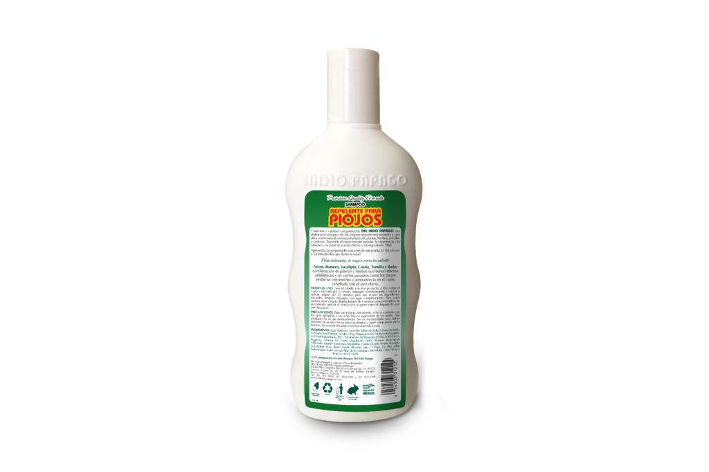 Del Indio Papago - Shampoo Repelente para Piojos - Reverso